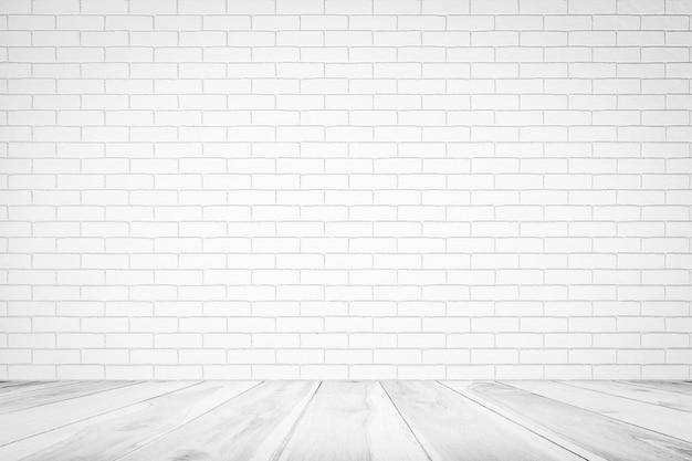Texture De Mur De Brique Blanche Avec Plancher De Bois Fond D Arriere Plan Vide Pour