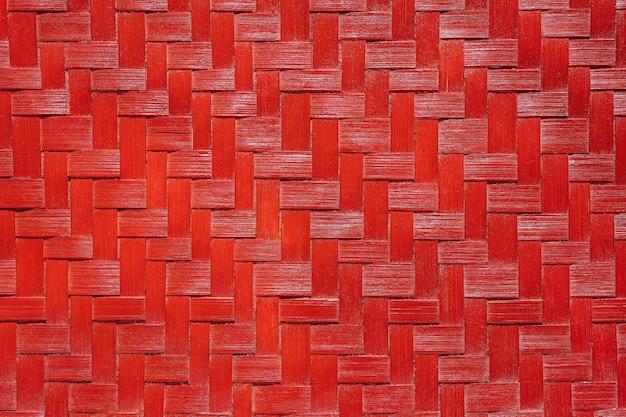 Texture En Osier De Bambou Rouge. Photo Premium