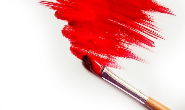 Texture De Peinture Sur Fond Blanc. Mise Au Point Sélective. Photo Premium