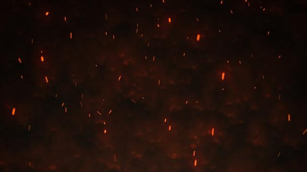 Texture De Tempête De Feu. Lumières De Bokeh Sur Fond Noir, Coup D'étincelles De Feu Volant Dans L'air Photo Premium