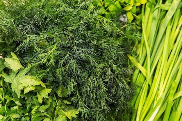 Texture de verdure vegetbales dans la boutique. aneth et onin Photo Premium