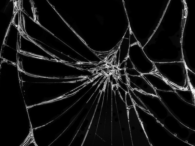Texture de verre fissuré sur fond noir Photo Premium