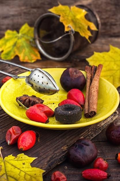 Thé d'automne d'églantier Photo Premium