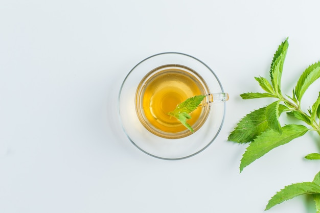 Thé Aux Herbes Dans Une Tasse Sur Fond Blanc, Pose à Plat. Photo gratuit