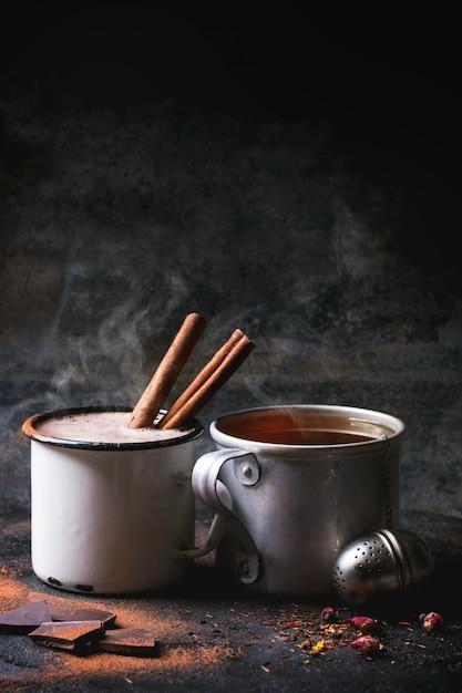 Thé Et Chocolat Chaud Photo Premium