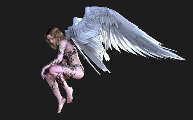 The heaven angel wings, plumage à ailes blanches avec un tracé de détourage. Photo Premium