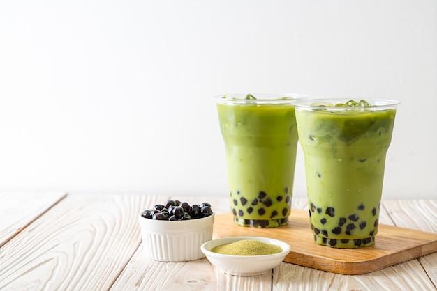 Thé Vert Au Lait Avec Bulle Photo Premium