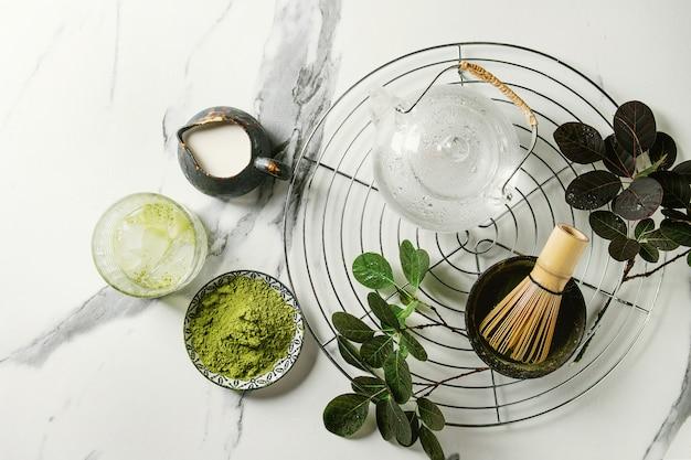 Thé vert matcha en poudre Photo Premium