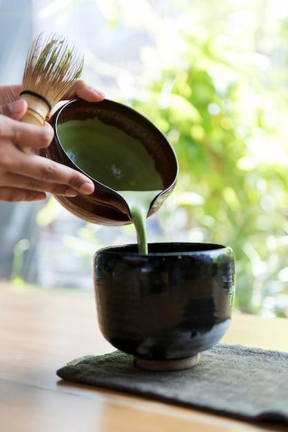 Thé vert traditionnel japonais matcha Photo gratuit