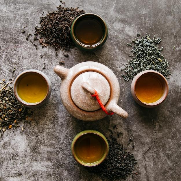 Théière en céramique avec des herbes de thé séchées et des tasses à thé sur un fond sombre Photo gratuit