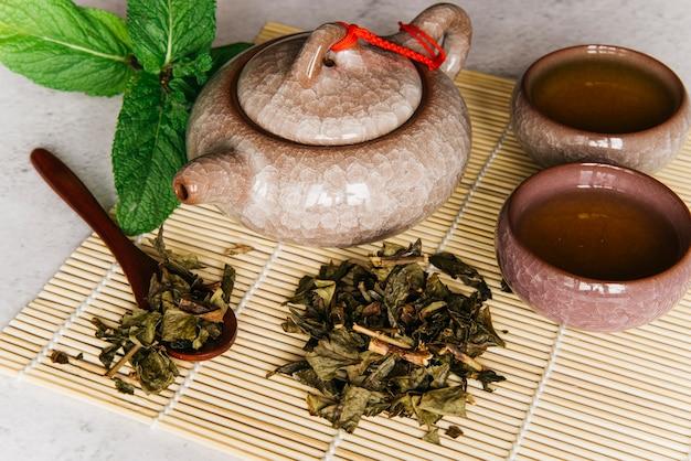 Théière en céramique avec une tasse de thé à base de plantes; menthe et feuilles de thé séchées sur napperon Photo gratuit