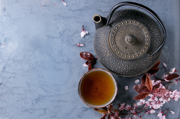 Théière et tasse de thé avec une branche de fleur Photo Premium