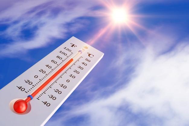 Le thermomètre sur le fond du soleil. rendu 3d. Photo Premium