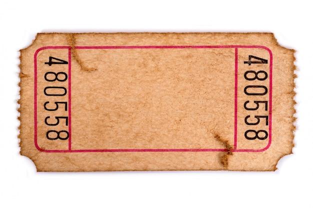 Ticket d'entrée vierge taché et endommagé Photo Premium