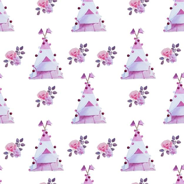 Tipis Peints à La Main Aquarelle Et Motif De Bouquets De Fleurs. Décorations De Chambre D'enfants Modèle Sans Couture. Arrangement De Tente Et De Fleurs Pour Enfants Dessinés Par Han. Photo Premium