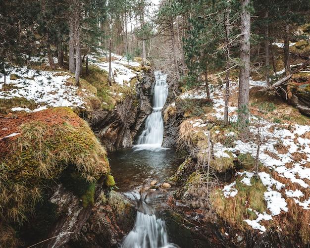 Tir Vertical De Cascades De Cascade Au Milieu De La Forêt En Hiver Photo gratuit