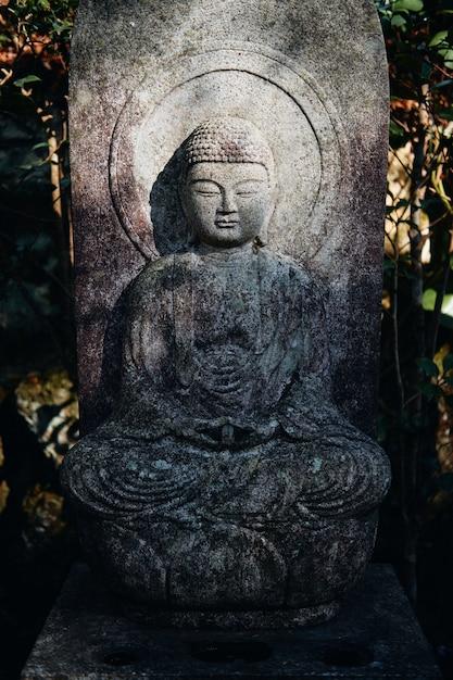 Tir Vertical D'une Statue Bouddhiste Dans Le Temple Mitaki-dera à Hiroshima, Japon Photo gratuit