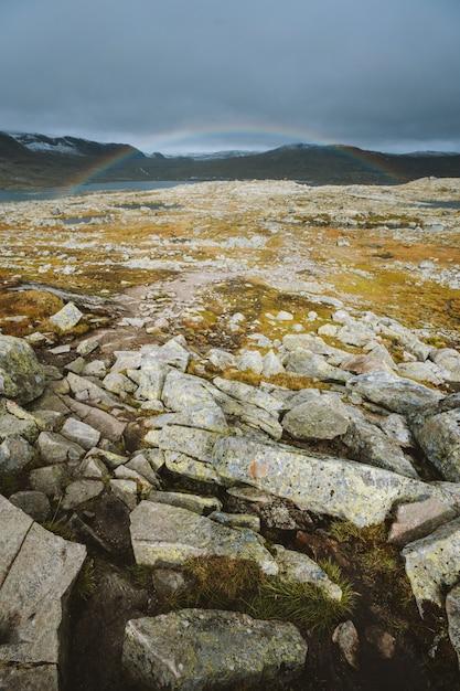 Tir Vertical De Terre Avec Beaucoup De Formations Rocheuses Et L'arc-en-ciel En Arrière-plan à Finse, Norvège Photo gratuit