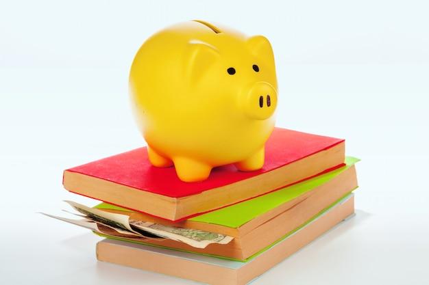 Tirelire en céramique avec des livres et de l'argent Photo Premium