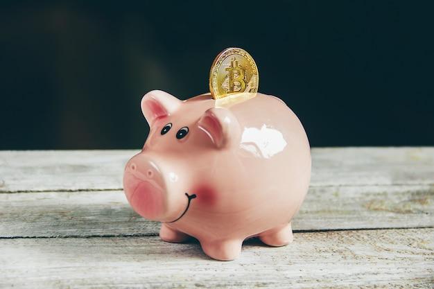 Tirelire et dollars. mise au point sélective. Photo Premium