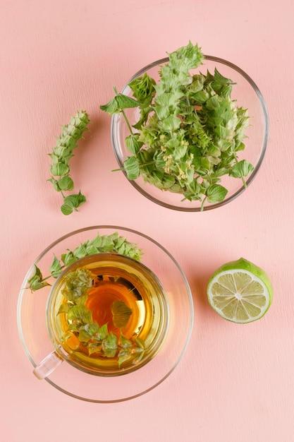 Tisane Aux Herbes, Citron Vert Dans Une Tasse En Verre Rose, Vue De Dessus. Photo gratuit