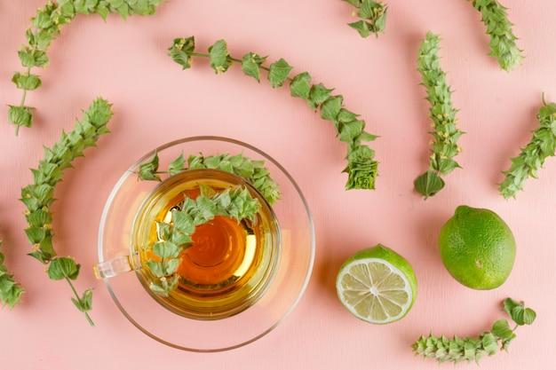 Tisane Dans Une Tasse En Verre Avec Des Herbes, Des Limes à Plat Sur Un Rose Photo gratuit