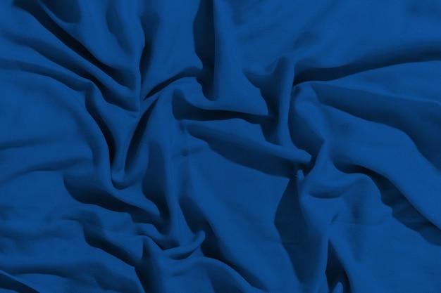 Tissu Bleu Classique Froissé Comme Arrière-plan Photo Premium