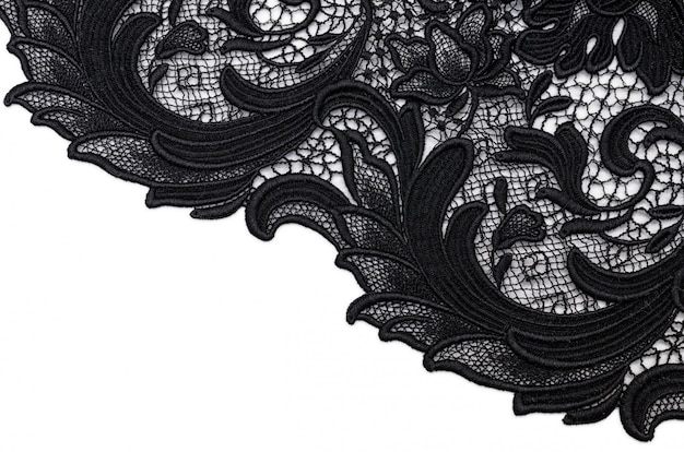 Tissu de coton dentelle noire Photo Premium