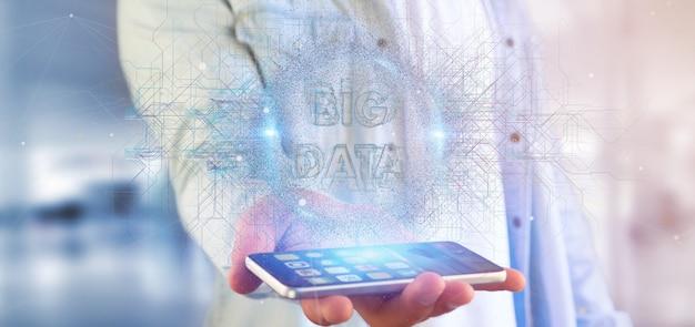 Titre de données big data détenu par un homme Photo Premium