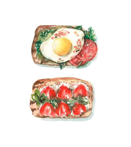 Toast avec l'oeuf et les tomates, toast avec les fraises et le fromage. Photo Premium