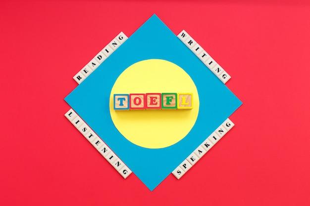 Toefl mots et mots lisant, écoutant, écrivant, parlant toefl Photo Premium