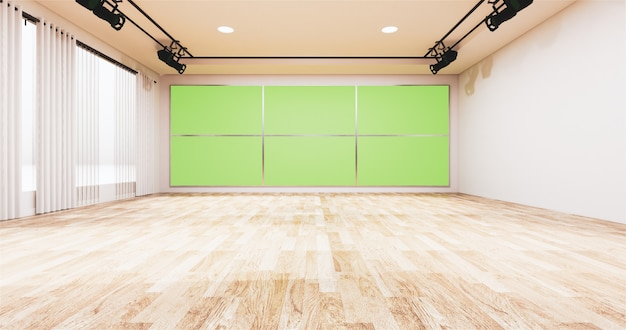 Toile De Fond Pour La Télévision Montre La Télévision Sur Le Mur, Une Salle Vide News Studio Et Un écran De Fond Vert Photo Premium