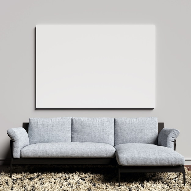 Toile mockup sur le mur intérieur blanc avec sofa blueish Photo Premium