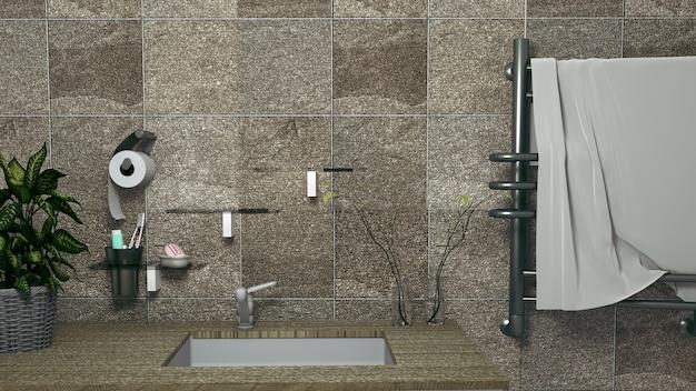 Toilettes publiques au centre, rendu 3d Photo Premium