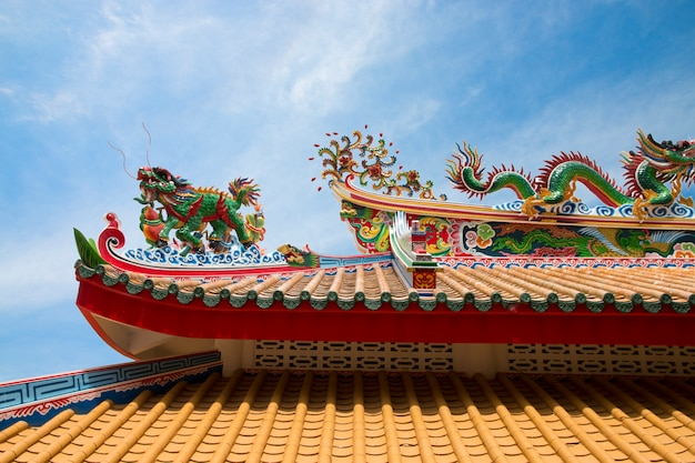 Le toit du temple chinois, architecture antique chinoise Photo Premium