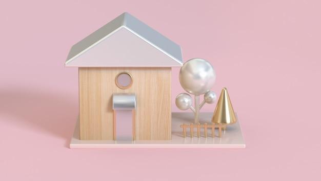 Toits de la maison en bois 3d abstrait blanc perle métallique et arbre doré rendu 3d Photo Premium