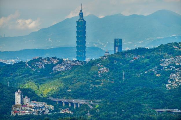 Toits de la ville et gratte-ciel du centre-ville de taipei au moment de la soirée à taiwan Photo Premium