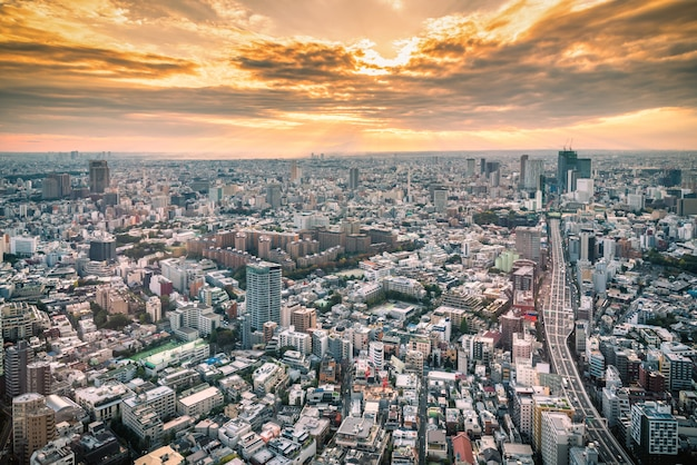 Tokyo skyline et vue sur les gratte-ciel sur la terrasse d'observation au coucher du soleil au japon. Photo Premium
