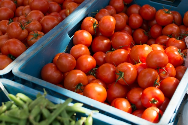 Tomates mûres brillantes au marché Photo gratuit
