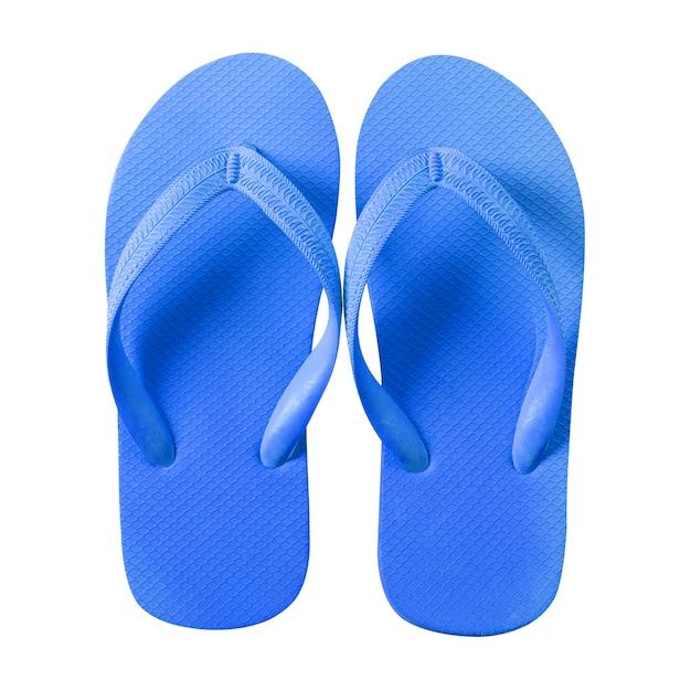 Tongs bleu isolé sur fond blanc Photo gratuit