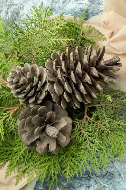 Top Close View Pinecones Pin Branches Sur Châle Beige Sur Surface Sombre Photo gratuit