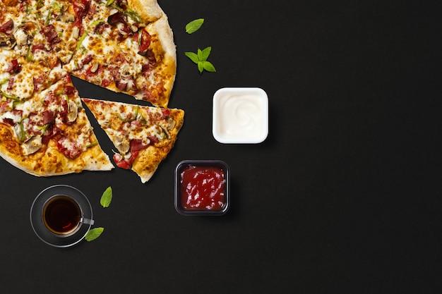 Top View Pizza Au Thé Photo Premium