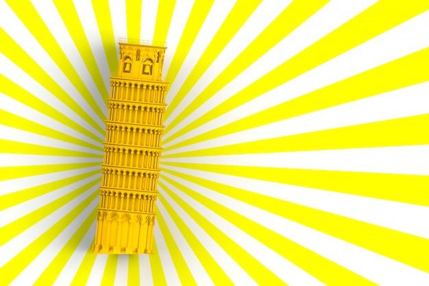 Tour penchée jaune de pise sur fond blanc et jaune, rendu 3d Photo Premium