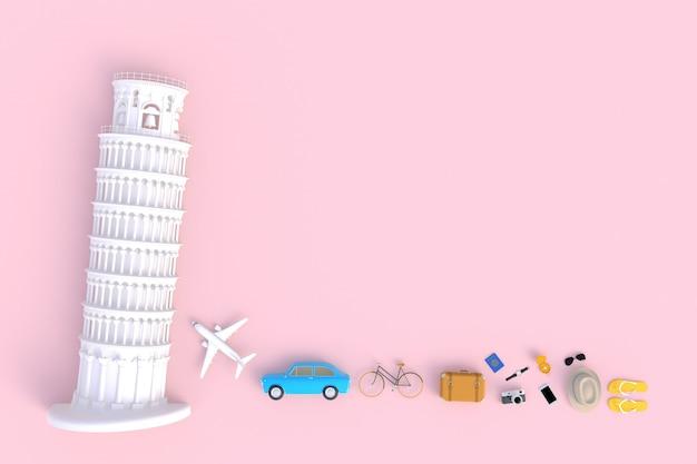 Tour penchée de pise, italie, europe, vue de dessus des accessoires du voyageur, articles de vacances essentiels, concept de voyage, rendu 3d Photo Premium
