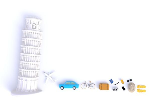 Tour penchée de pise, vue de dessus des accessoires du voyageur Photo Premium