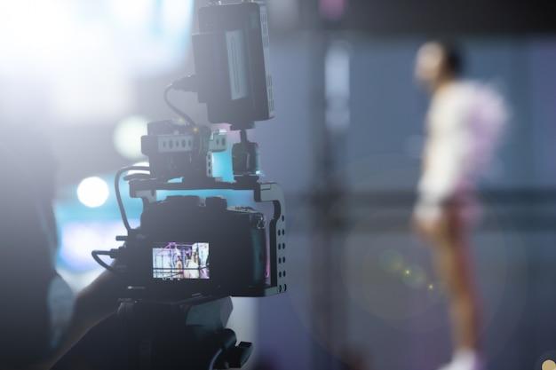 Tournage En Direct Du Réseau Social De Caméras Vidéo Photo Premium