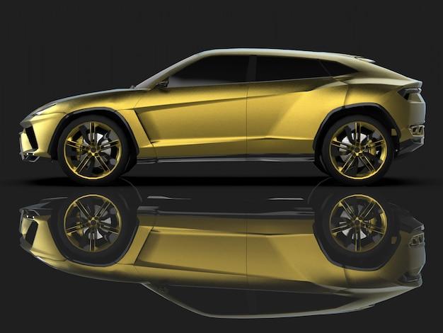Le tout nouveau multisegment sportif doré de qualité supérieure, en studio noir avec sol réfléchissant Photo Premium