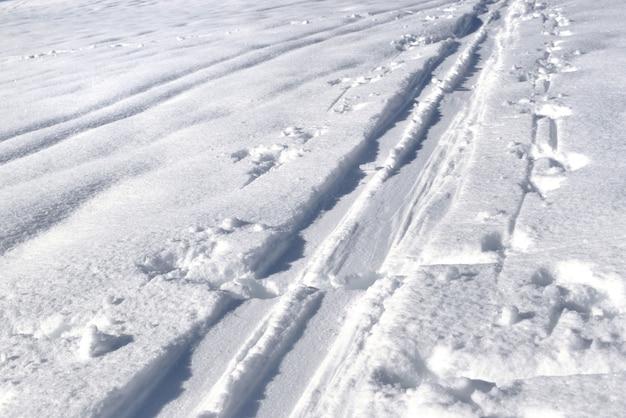 Traces de ski de fond sur la neige Photo Premium