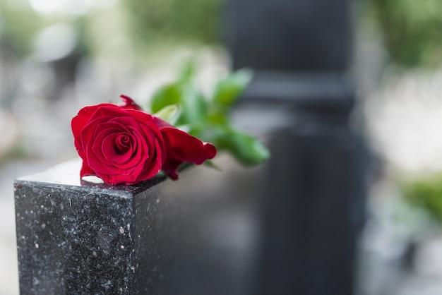 Tradition religieuse de mettre une fleur à la mémoire du défunt sur la dalle de granit du Photo Premium