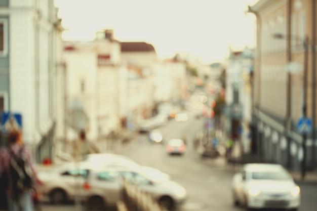 Trafic Flou Dans La Rue De La Ville Photo Premium